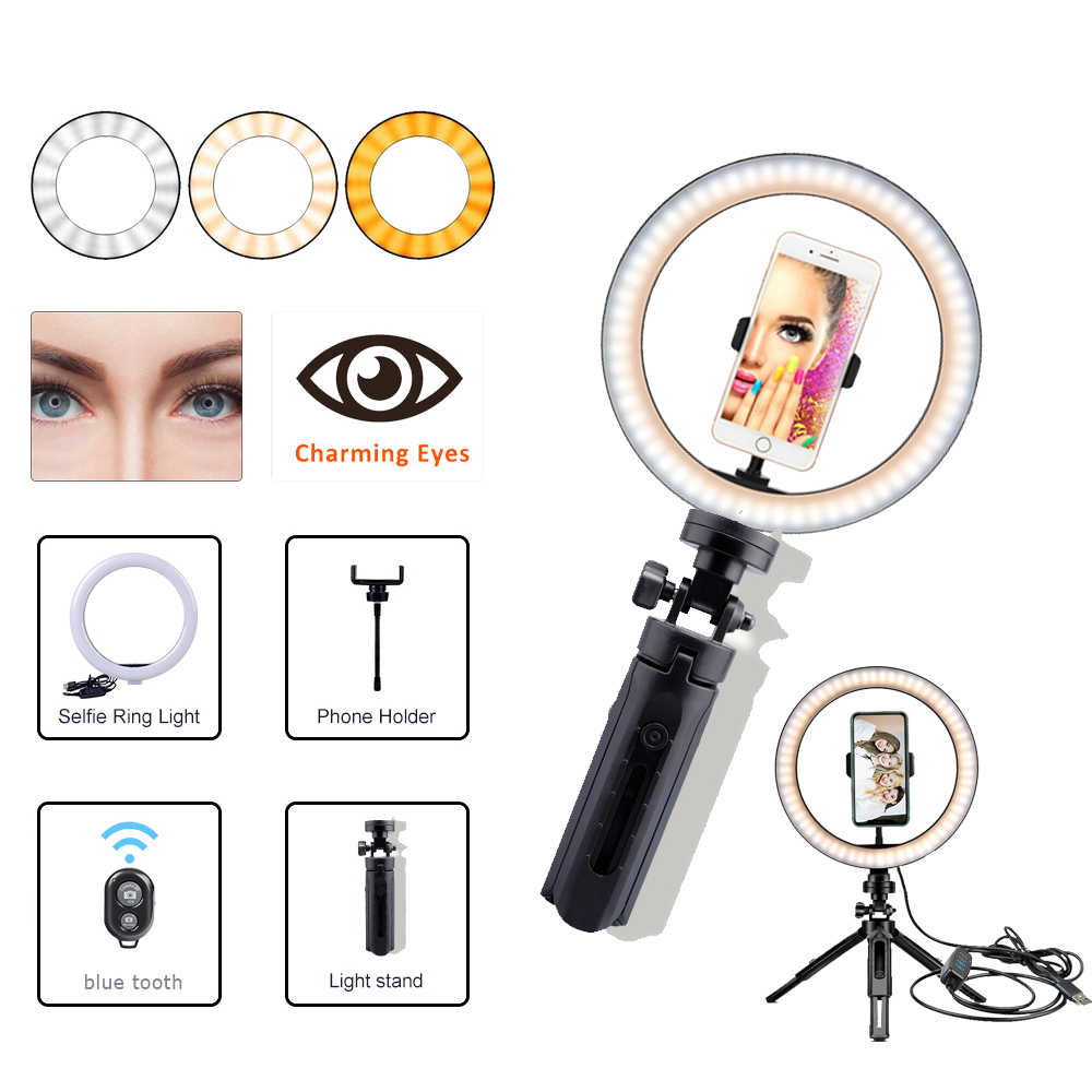 Bluetooth à distance 26CM photographie éclairage téléphone Ringlight trépied support Photo Led Selfie anneau lumière lampe TikTok Youtube en direct