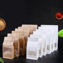 Free Shipping 50pcs/Lot 12cm*22cm+6cm Bottom *140Mciron Kraft Paper Organza Bag Gift Bags Food Zip Lock Retail