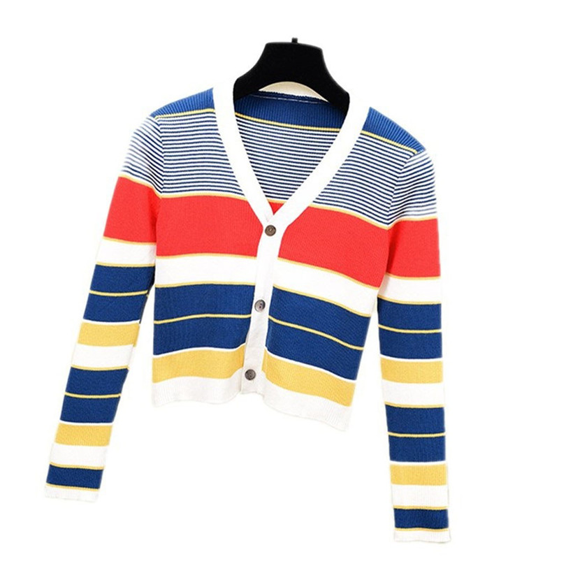 Striped Cardigan Women Ctop Top Long Sleeve Sweater V Neck Sexy Cardigan Knitting One Size Pull Femme Nouveaute 40OCT1627