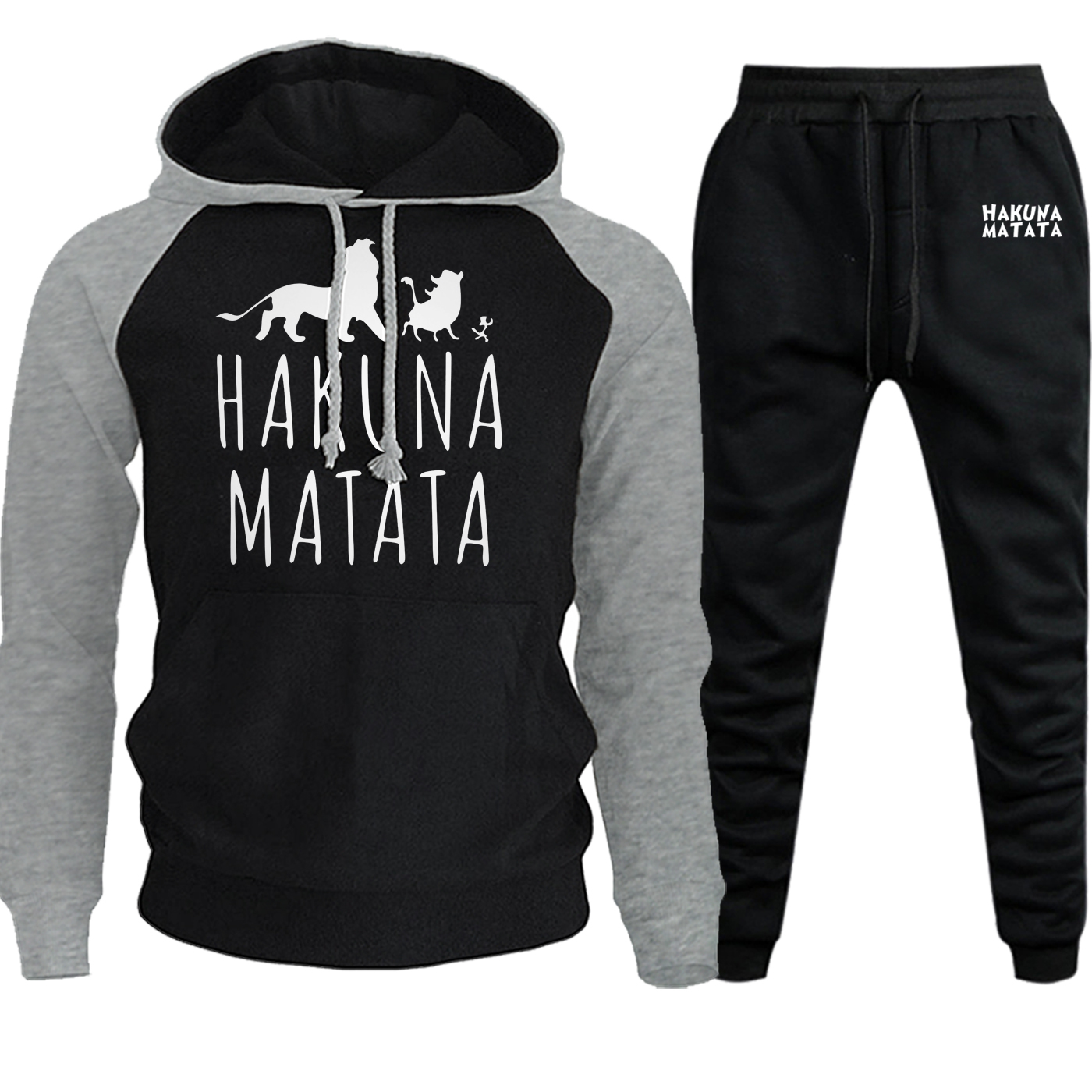 The Lion King Streetwear 2019 Autumn Winter Raglan Men Hoodie Cartoon Suit Male Pullover Casual Fleece Hooded+Pants 2 Piece Set