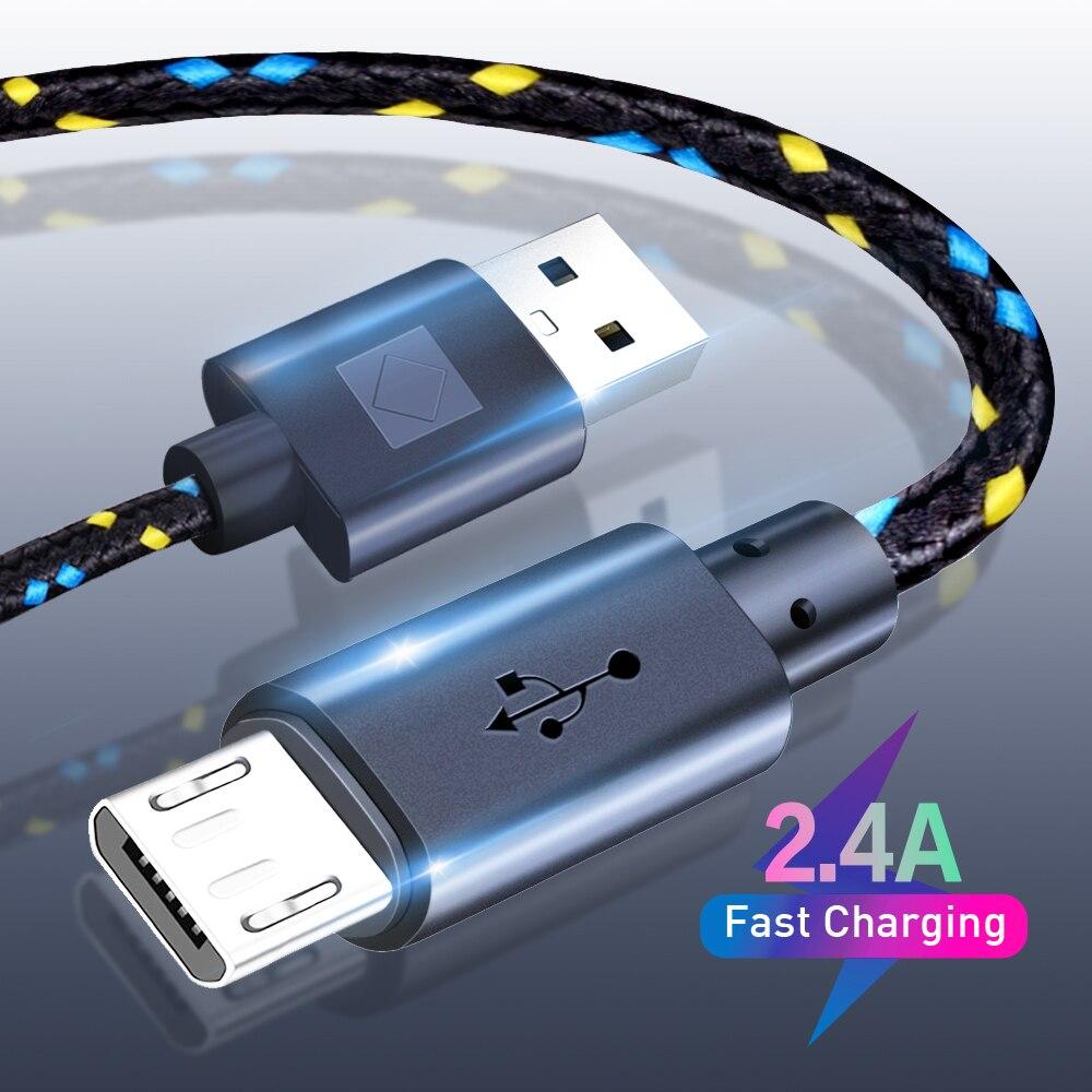 Нейлоновый Плетеный Micro USB кабель для синхронизации данных, USB-кабель для зарядки для Samsung S7, HTC, LG, Huawei, Xiaomi, планшетов, Android, USB-кабели для телефо...