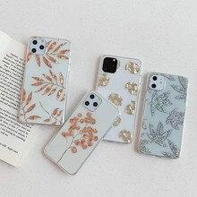 Bronzing glitter transparent Leaves phone case for