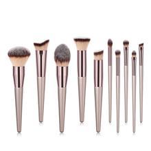 Champagne gold 10Pcs Makeup brushes set for Eye shadow blush loose powder cosmetics 10sets/lot DHL Free