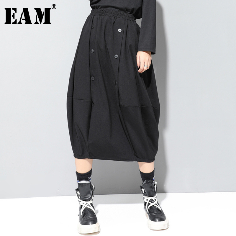 [EAM] High Elastic Waist Black Button Split Joint Temperament Half-body Skirt Women Fashion Tide New Spring Autumn 2019 1D693