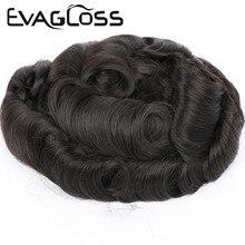EVAGLOSS супер тонкий 100% Remy человеческих волос прочный ПУ мужские парик система замены для мужчин парик