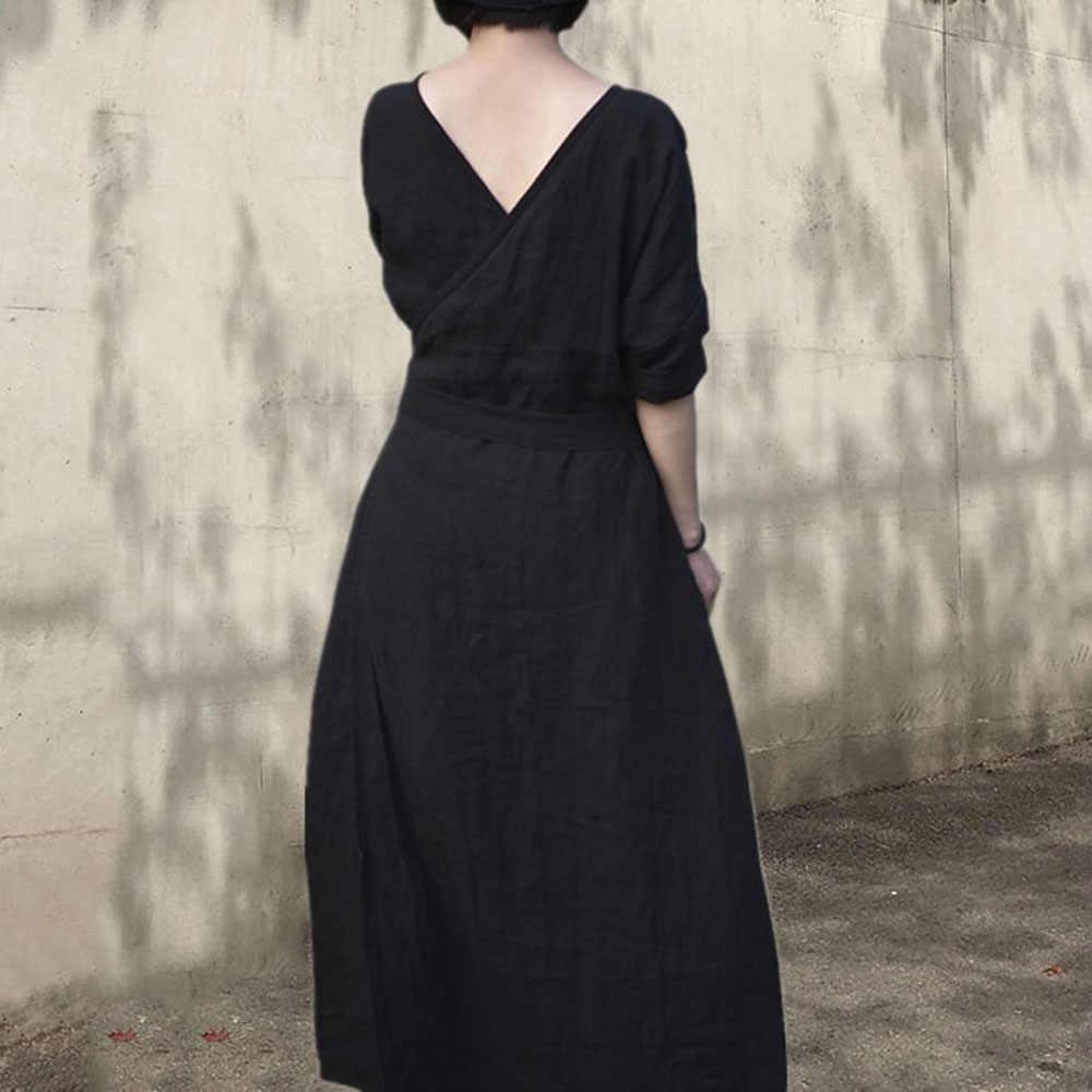 Maxi Boho del Vestito 2020 della Molla di Stile Coreano Solido Delle Donne del Ginocchio del Vestito Da Partito Nero di Cotone di Lino A-Line Vestido Giappone Ragazze Abiti