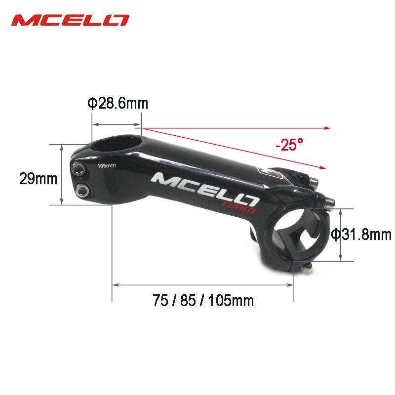 Bicicleta de fibra de carbono bicicleta de tallo ultraligero manillar 31,8mm 75/85/105mm MTB bicicleta de carretera vástago de 25 grados para ciclista profesional - 5