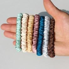 100% puro seda skinnies scrunchie conjunto laço de cabelo laços cordas bandas magras scrunchy elastics rabo de cavalo suportes para meninas