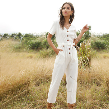 Spring Summer Fashion Short Sleeve Jumpsuits Women Cotton Solid Ankle-length Pants Single Breasted Streetwear 2020 New