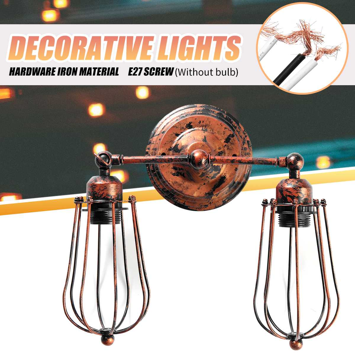 Industrial Double Head Wall Sconce Lights American Rustic Wrought Iron Antique Restaurant Corridor Decoration LED Wall Lamp
