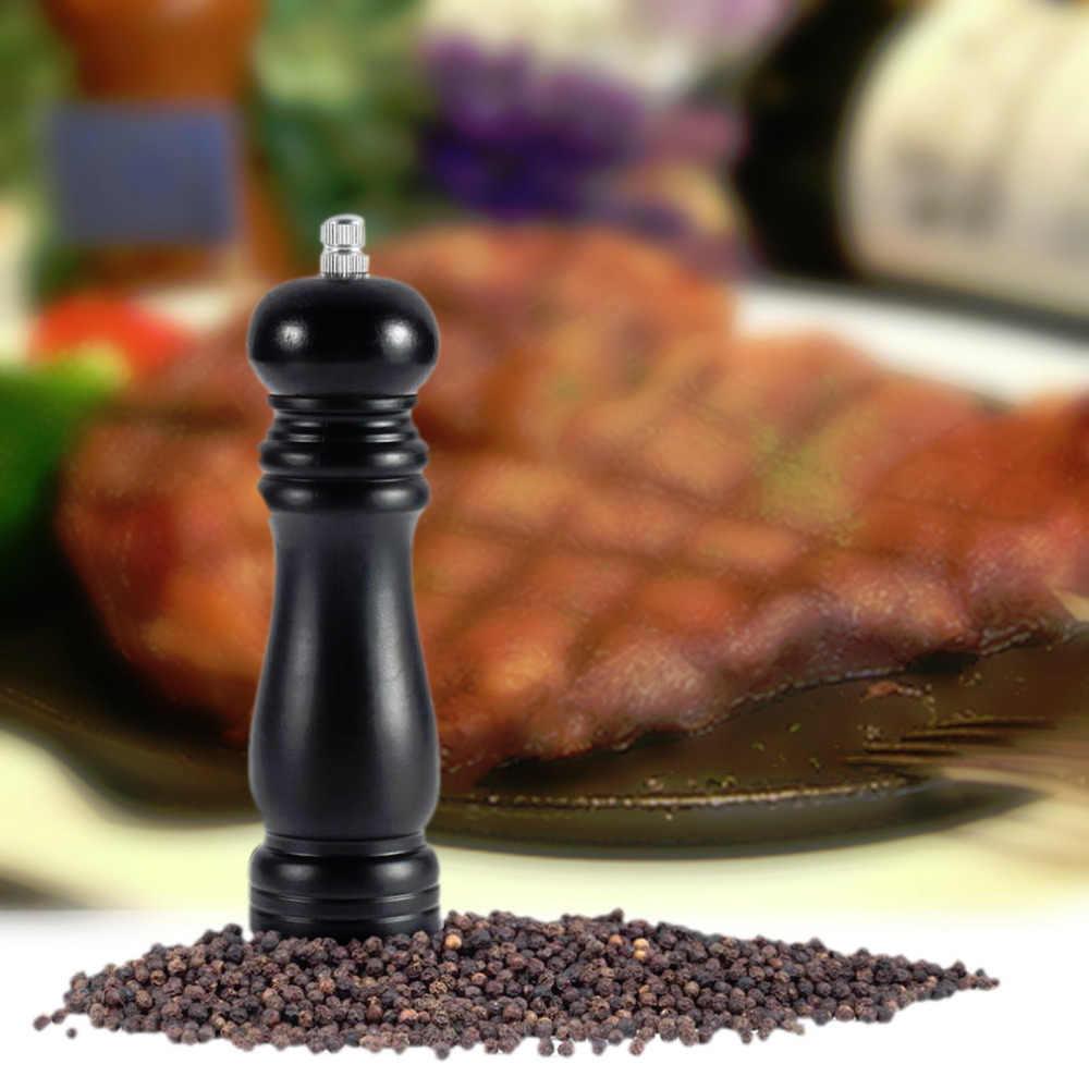 Czarny drewniany pieprz z drewna sól shaker do mielenia młynek do pieprzu gadżet gotowanie mięso restauracje kuchnia jadalnia użyj Drop Shipping