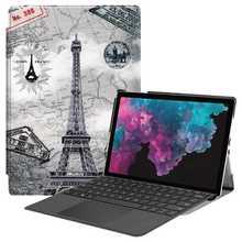 Skórzane inteligentne etui z podstawką dla Microsoft Surface Pro 4 5 6 obudowa na Microsoft Microsoft Surface Pro 6 5 12 3 Protector obudowa z podstawką tanie tanio Maymiky Osłona skóra please make sure size is right CN (pochodzenie) please chec your tablet systerm model Stałe For Microsoft