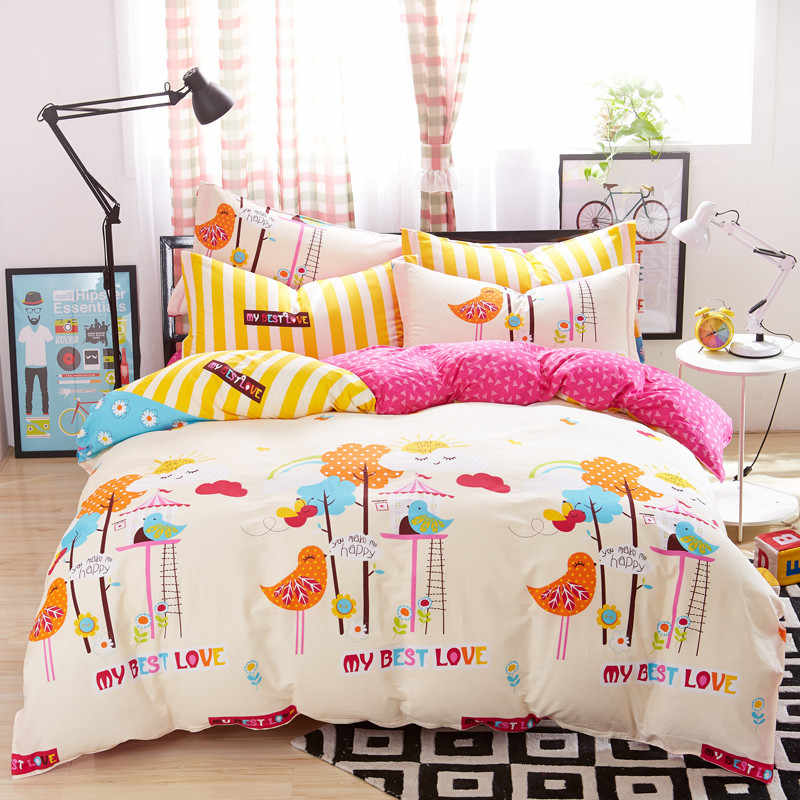 100% Cotton Duvet Cover Beauty Floral Bed Cover for Kids Adults Single Double Bed Bedroom Use XF650-2 (No Pillowcase)