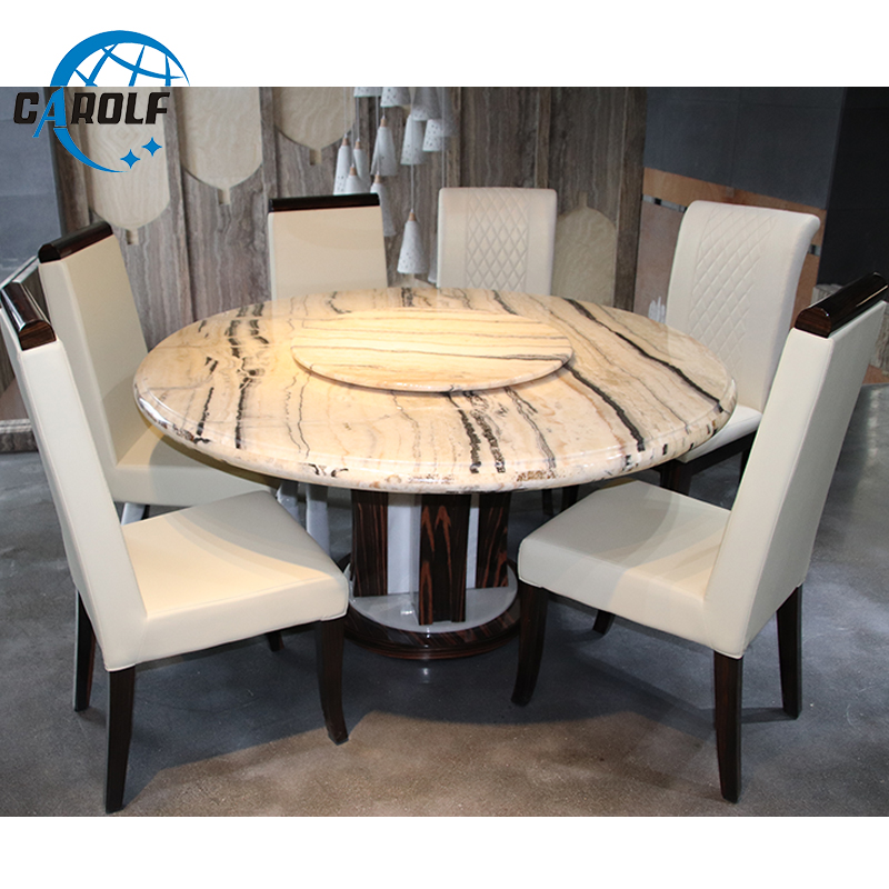 Best Price Modern 6 Chairs Marble Top Round Dining Table With Lazy Susan