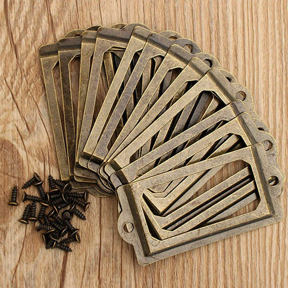 24pcs 70mm Antique Label Box Drawer Handle Card Frame Apothecary Cabinet Drawer Hardware Accessories