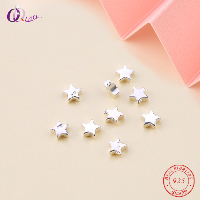10PCS 925 Sterling Silver Beads Exquisite Pentagram Beads Loose Spacer Silver Star Beads Bracelet Necklace Jewelry Making DIY