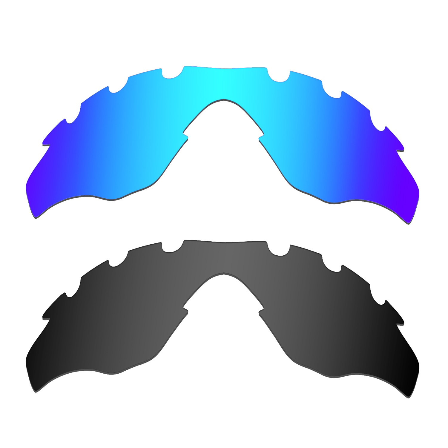 HKUCO For M2-Vented Sunglasses Replacement Polarized Lenses 2 Pairs - Blue & Black