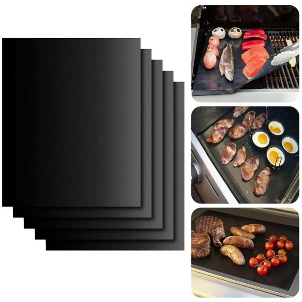 (5 PCS) BBQ High Temperature Non-stick Pan Barbecue Pad Barbecue Tools Sheet Portable Non-Stick BBQ Grill Pad Baking Microwave