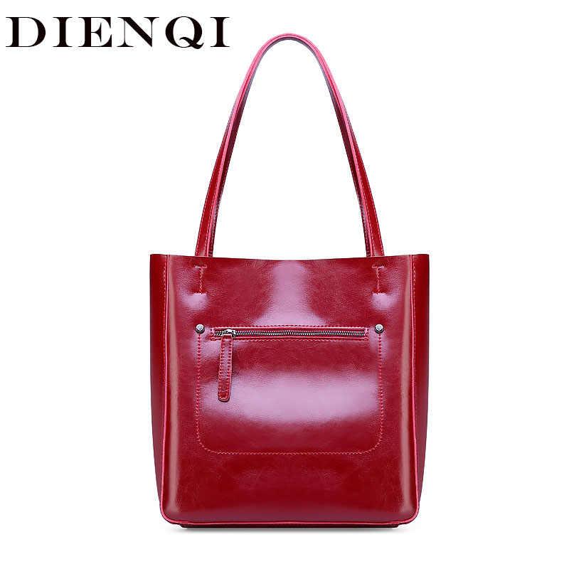 DIENQI kadın hakiki deri büyük omuzdan askili çanta 2019 moda lüks çanta kadın çanta tasarımcısı Tote sac bandouli yeniden femme luxe