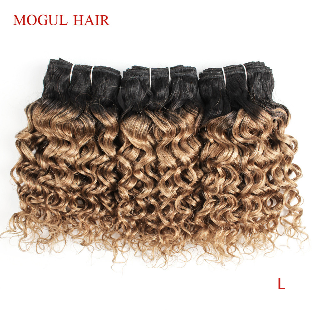 MOGUL HAIR 4/6 Bundles 50g/pc T 1B 27 Dark Root Honey Blonde Ombre Brazilian Water Wave Remy Human Hair Short Bob Style