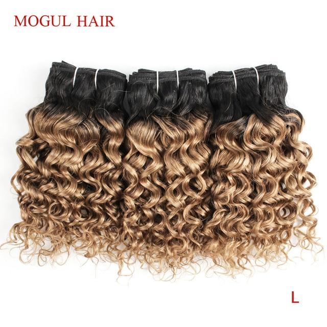 MOGUL włosów 4/6 wiązki 50 g/sztuka T 1B 27 ciemny odrost miód blond Ombre brazylijski Water Wave Remy ludzki włos krótki Bob Style