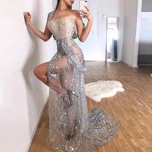 Misswim סקסי ארוך שקוף שמלת נשים 2019 קיץ נצנצים מפלגת שמלות גבירותיי גליטר מבריק bodycon לילה שמלת Vestidos XL