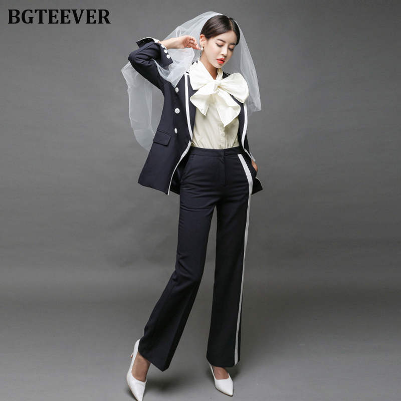 Fashion Double-breasted Women Blazer Suits Elegant Women Pant Suits Patchwork Hit Color Pants Set Elegant Female Work Suits 2019