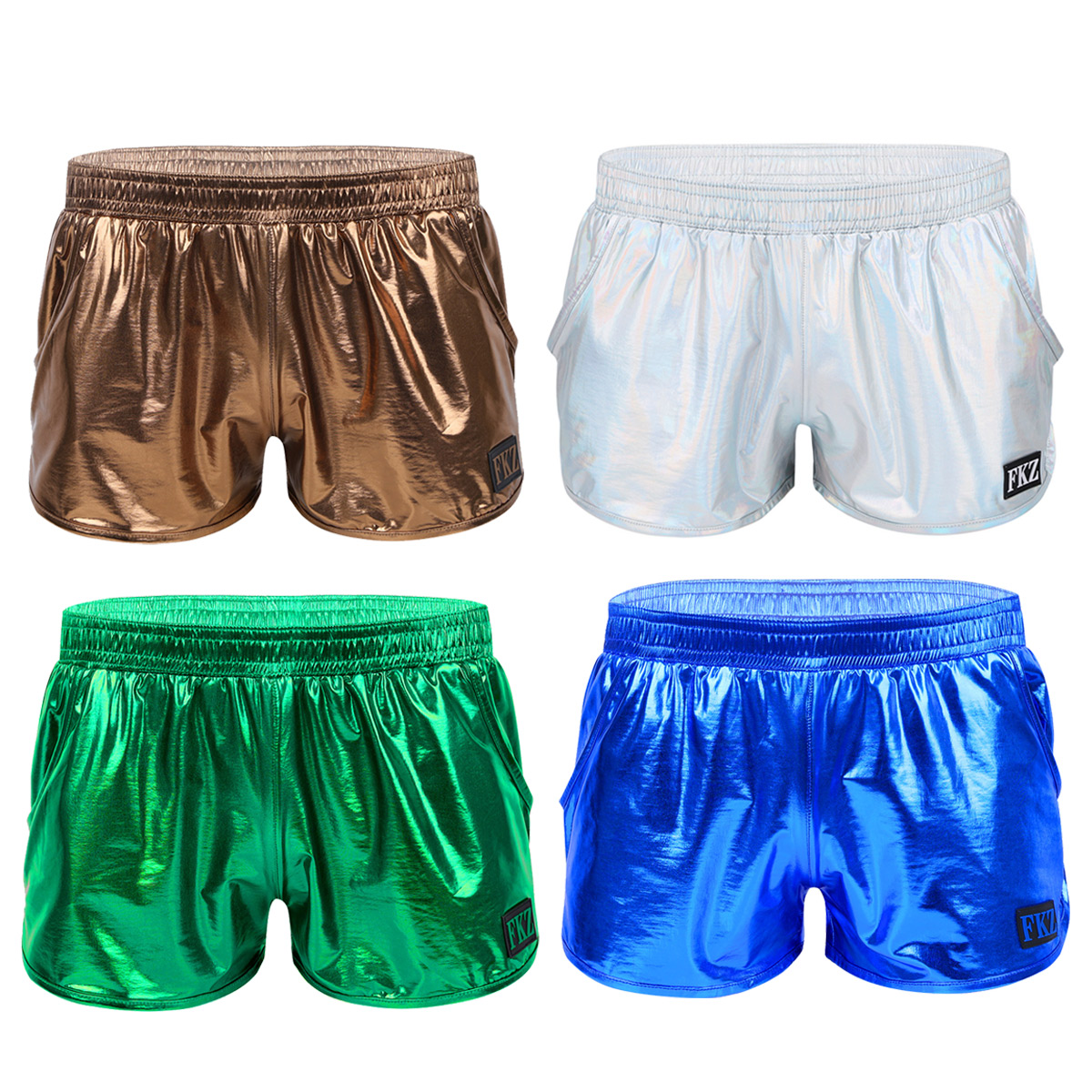 Men Hot Shorts Shiny Metallic Low Rise Boxer Shorts Stage Performance Clubwear Costumes Gymnastic Swimsuit Homme Pants Underwear