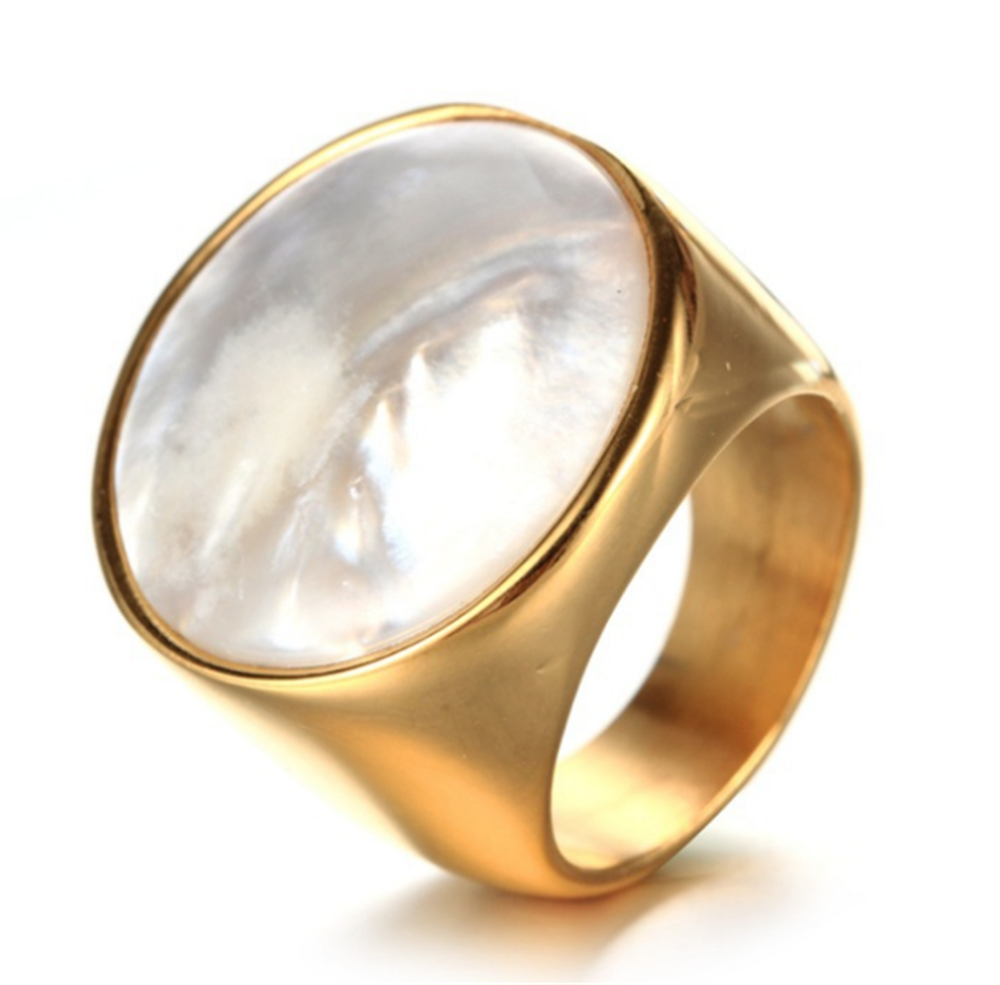 High Quality Gold Color Big White Opal Stainless Steel Men Rings Size 7-14 Bague Homme Wedding Rings Jewelry Dropshipping