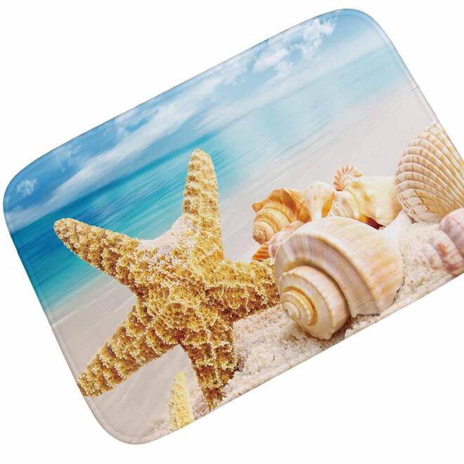 Beach Starfish Sea Shell Non Slip Bath Mat Shower Rug Kitchen Carpet Door Mat