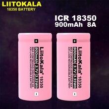 Liitokala بطارية ليثيوم قابلة لإعادة الشحن ، 18350 فولت ، 8 أمبير ، 900 مللي أمبير ، لمصباح السجائر الإلكترونية ، ICR 3.7