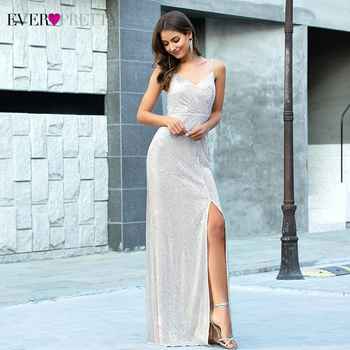 Luxury Rose Gold Evening Dresses Ever Pretty EP00609RG High Split Spaghetti Straps Sequined Sparkle Evening Gowns Robe De Soiree
