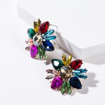 KMVEXO Colorful Crystal Drop Earrings Women Round Geometric Pendant Dangle Earrings Indian Bridal Statement Jewelry Party Bijoux 9