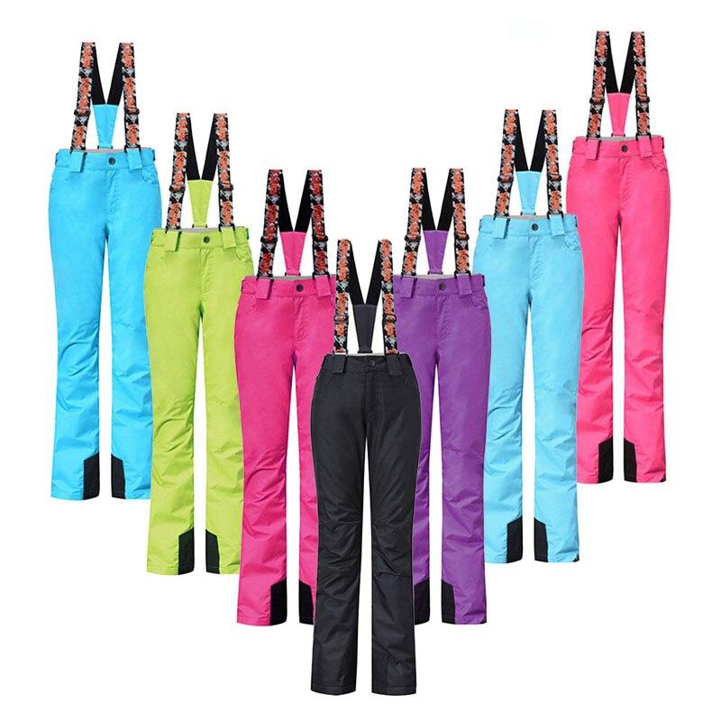colorful  Women Snow Pant 10K Windproof Waterproof Snowboarding Strap pant outdoor sports Riding Hiking girls Bib sSki Trousers