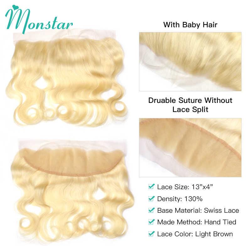 Monstar Remy blond kolor włosów ciało fala 2/3/4 zestawy z 13x4 ucha do ucha koronka Frontal zamknięcie brazylijski ludzki blond 613 włosy