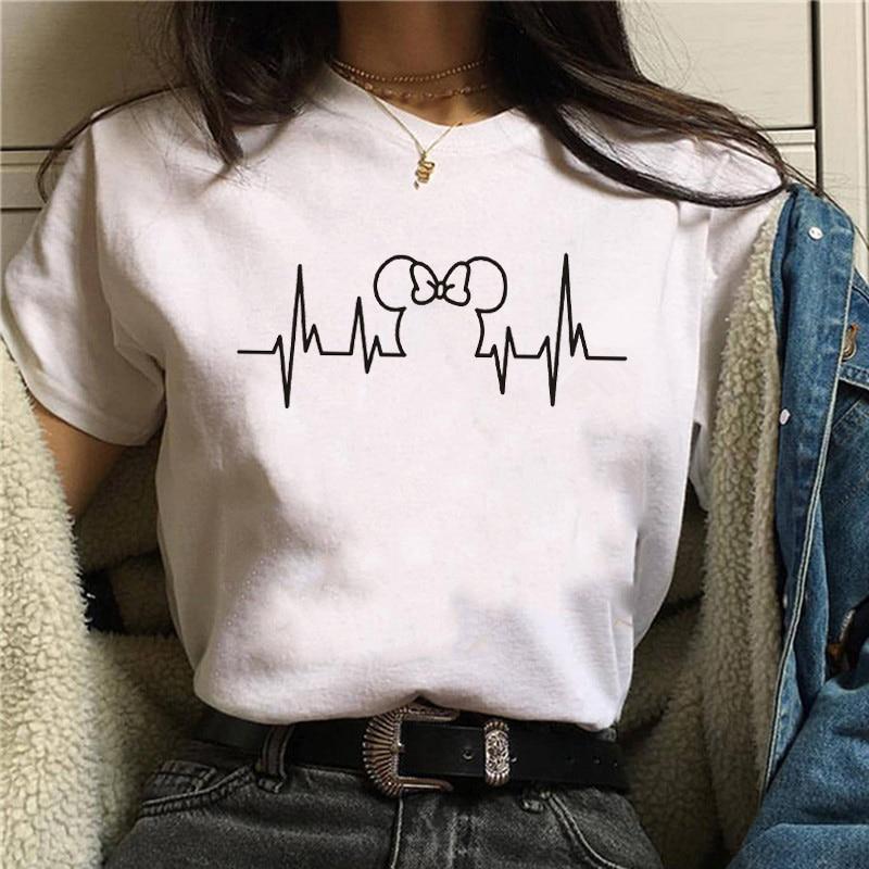 T Shirt Women 2019 Plus Size Harajuku Tops Summer Tops Graphic Tees Women Mickey Mouse Heartbeat Kawaii T-shirt