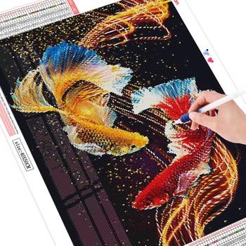 HUACAN 5D Diamond Embroidery Fish Full Drill Mosaic Handmade Diamond Art Painting Animal Home Decor