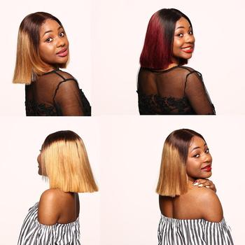 Bob Wigs Bob Lace Front Wigs Colored Ombre Human Hair Wig Short Burgundy 4x4 Closure Wig Bob Closure Wig Ombre Lace Wig Megalook