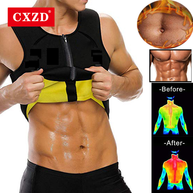 CXZD Men's Body Shaper Hot Sweat Workout Tank Top Slimming Neoprene Vest for Weight Loss Tummy Fat Burner