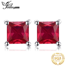 Square 0.86ct Pigeon Blood Ruby Earrings Stud Solid 925 Sterling Silver Women Classic Fabulous Hot