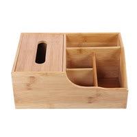 Tabletop Tissue Box Tissue Storage Box Wooden Remote Control Storage Organizer Multifunction 4 Grid Storage Case|Home Office Storage|   -