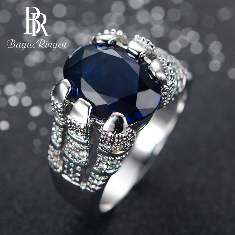 Bague Ringen Classic 100% Real Silver 925 Ring With 11*14mm Oval Sapphire Gemstone Men Women Ring Wedding Party Gift