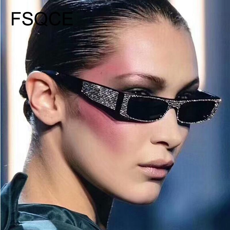 Diamond Square Sunglasses Women Brand Small Size Crystal Sun Glasses Ladies 2018 New Gradient Oculos Mirror Shades UV400