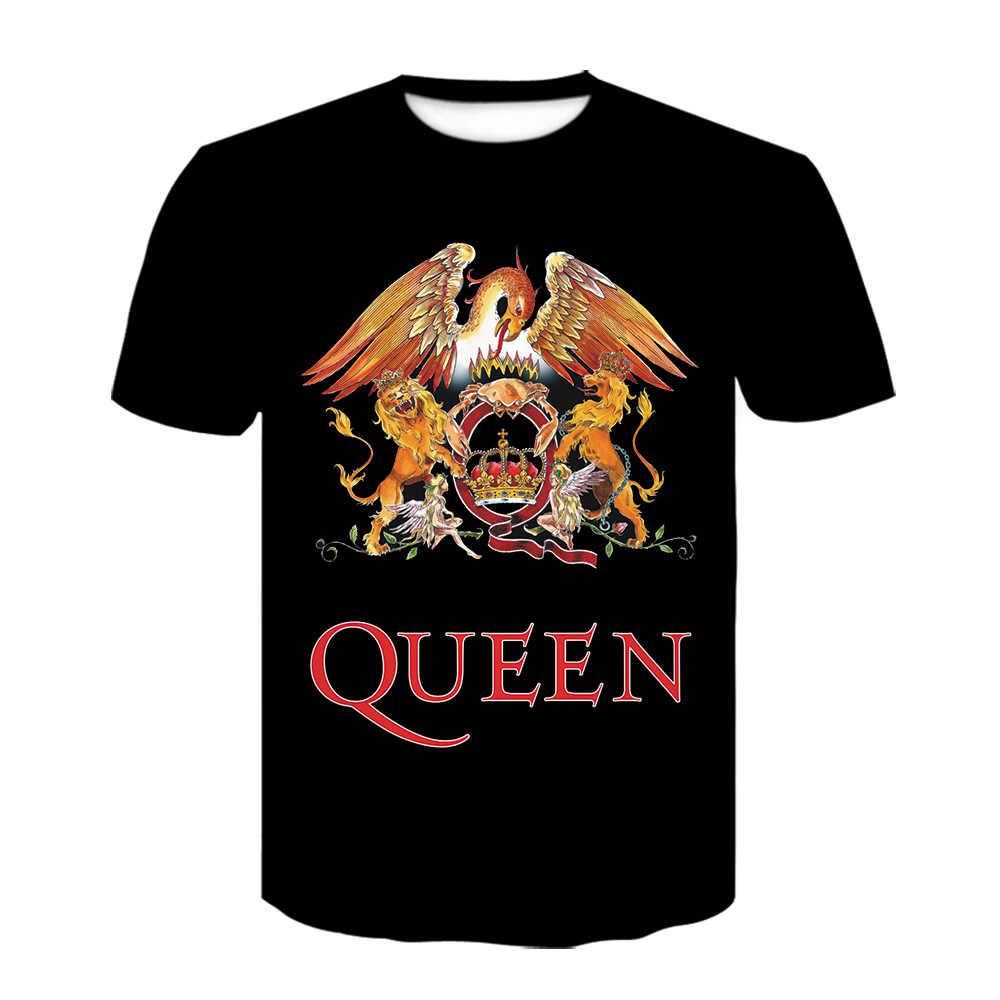 Novo leão 3d impressão camiseta rainha rock band t camisas preto manga curta roupas masculinas moda camisa harajuku fora branco tshirt