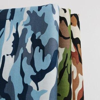 100cm * 147cm armia zielono-brązowy niebieski moro wzorzysty bawełniany materiał tkaniny kamuflaż popelina