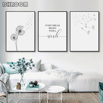 Dandelion Wall Art Canvas Painting Make Wish Poster Prints Nordic Style Minimalist Living Room Bedroom Nursery Decor