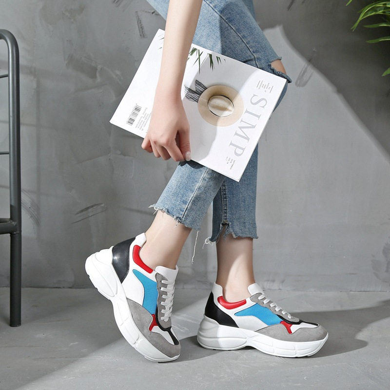 Krasovki Genuines Sneakers Women Autumn Leisure Increases Dropshipping Fashion Thick Bottom Breathable Mixed Colors Women Shoes in Women 39 s Vulcanize Shoes from Shoes