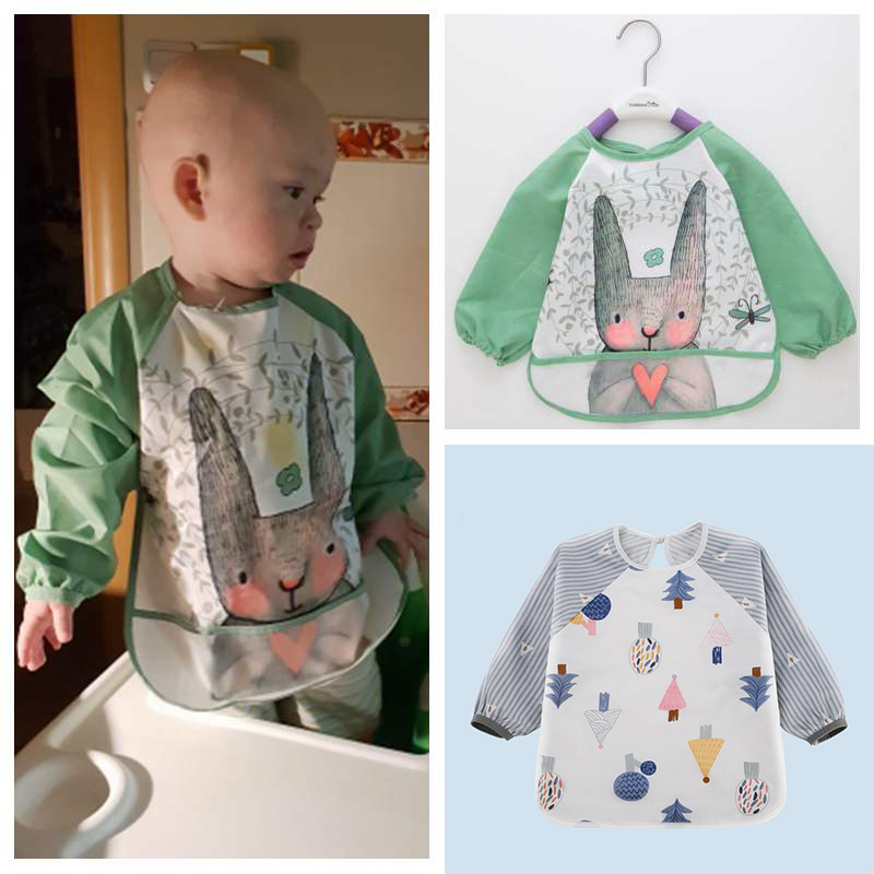 6-36 months Baby Product Unisex Infant Toddler Baby Waterproof Sleeved Bib Set of 3 Cute animals Apron B