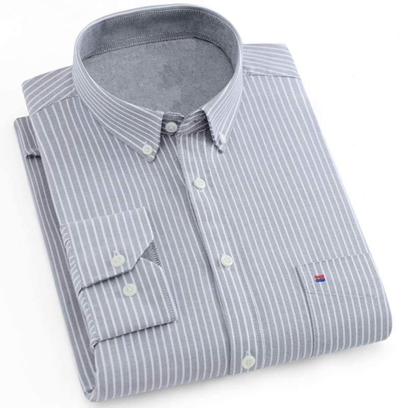 Men's Shirt Full Sleeve Regular Fit White Shirt Men's Striped & Plaid Shirts Oxford Mens Dress Shirts 5XL 6XL