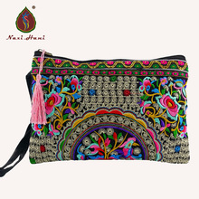 Women Wallet Purses Mobile-Bags Embroidery Canvas Retro Double-Sided Fashion Wristlets